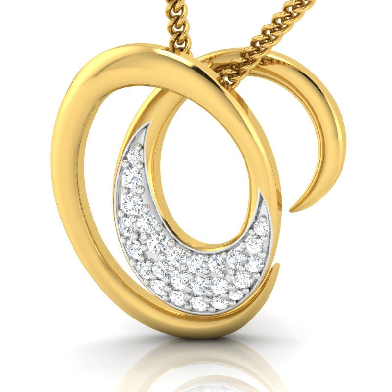 diamond studded gold jewellery - Maud Casual Pendant - Pristine Fire - 1