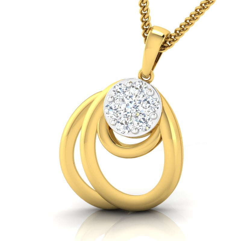 diamond studded gold jewellery - Lysandre Casual Pendant - Pristine Fire - 1