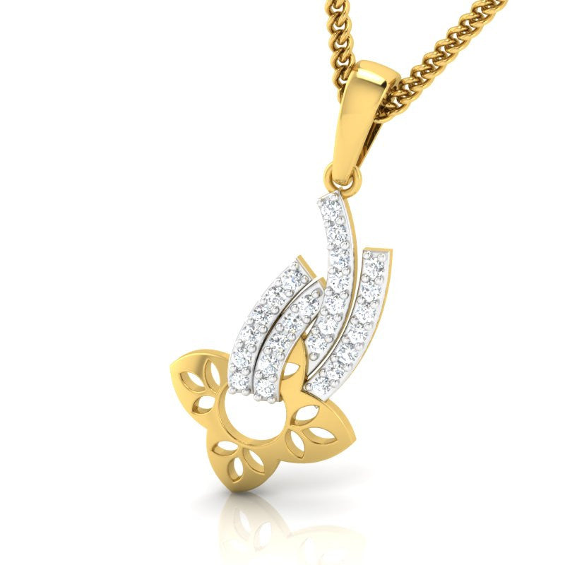 diamond studded gold jewellery - Chassidy Casual Pendant - Pristine Fire - 1