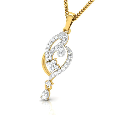 diamond studded gold jewellery - Aki Casual Pendant - Pristine Fire - 1