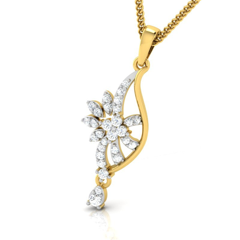 diamond studded gold jewellery - Amy Casual Pendant - Pristine Fire - 1