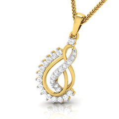 diamond studded gold jewellery - Ann Casual Pendant - Pristine Fire - 1