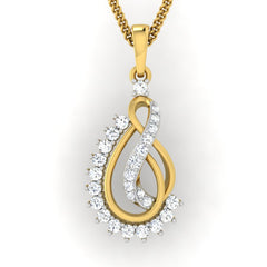 diamond studded gold jewellery - Ann Casual Pendant - Pristine Fire - 2