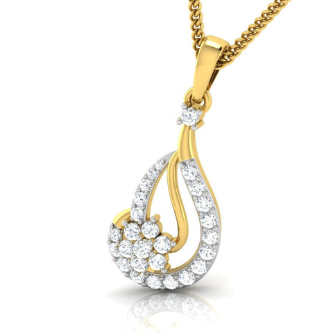 diamond studded gold jewellery - Flo Casual Pendant - Pristine Fire - 1
