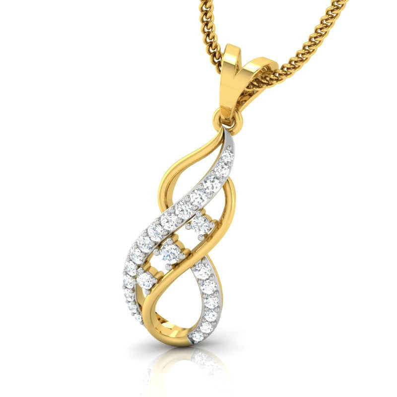diamond studded gold jewellery - Joy Casual Pendant - Pristine Fire - 1