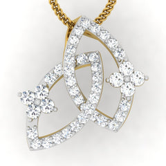 diamond studded gold jewellery - Ode Fashion Pendant - Pristine Fire - 2