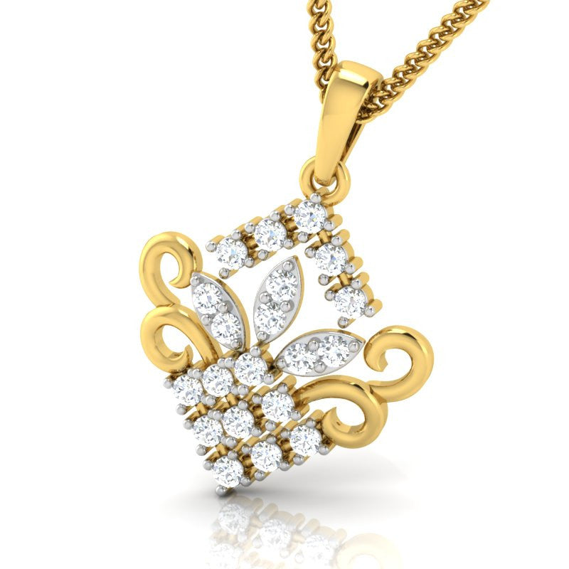 diamond studded gold jewellery - Zoe Casual Pendant - Pristine Fire - 1