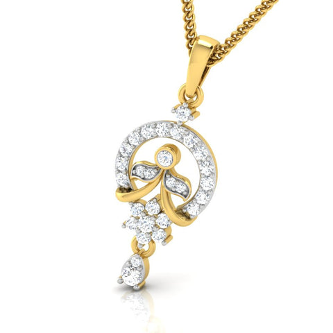diamond studded gold jewellery - Adya Casual Pendant - Pristine Fire - 1