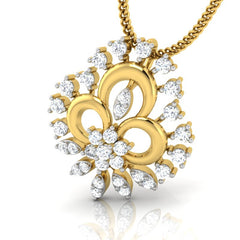 diamond studded gold jewellery - Alba Casual Pendant - Pristine Fire - 1