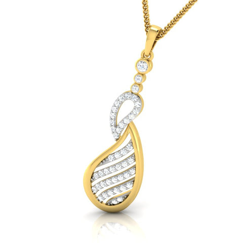 diamond studded gold jewellery - Aroa Casual Pendant - Pristine Fire - 1