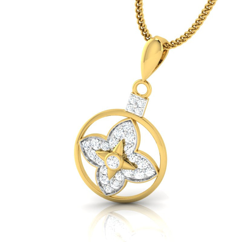 diamond studded gold jewellery - Bina Casual Pendant - Pristine Fire - 1