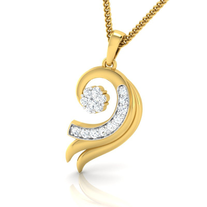 diamond studded gold jewellery - Cloe Fashion Pendant - Pristine Fire - 1