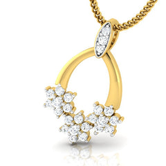 diamond studded gold jewellery - Dina Fashion Pendant - Pristine Fire - 1
