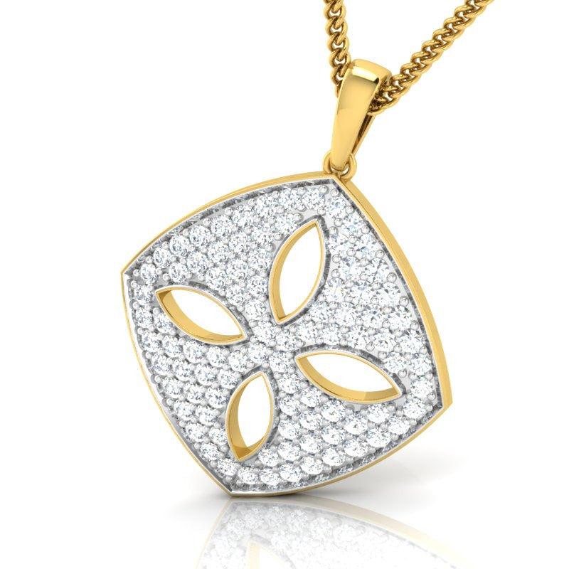 diamond studded gold jewellery - Dora Fashion Pendant - Pristine Fire - 1