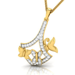 diamond studded gold jewellery - Emma Fashion Pendant - Pristine Fire - 1