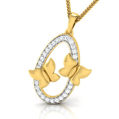 diamond studded gold jewellery - Emmy Fashion Pendant - Pristine Fire - 1
