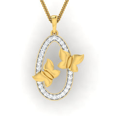 diamond studded gold jewellery - Emmy Fashion Pendant - Pristine Fire - 2