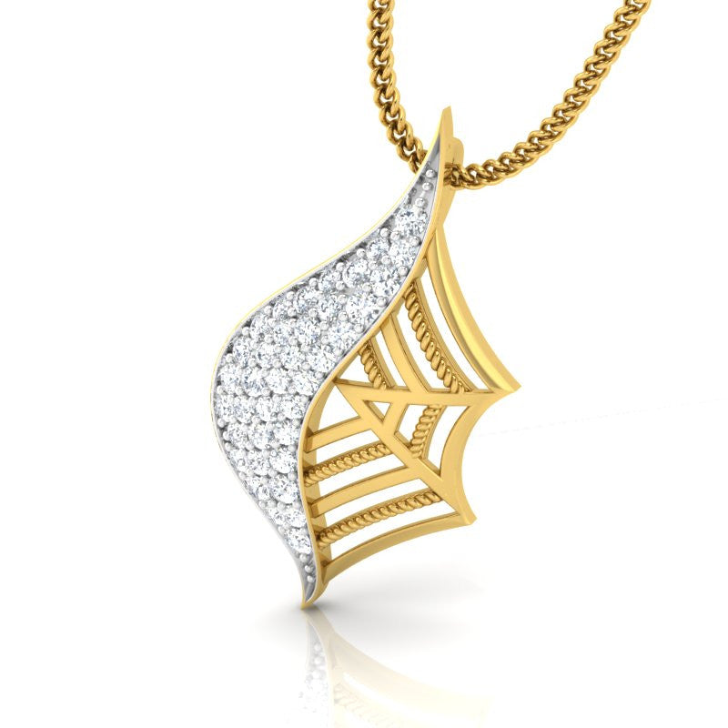diamond studded gold jewellery - Fifi Fashion Pendant - Pristine Fire - 1