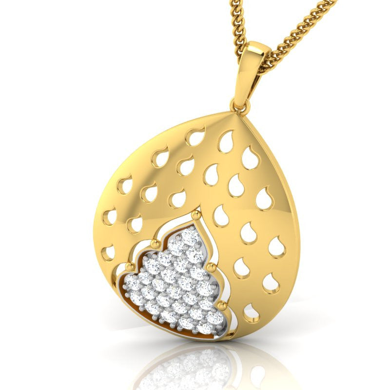 diamond studded gold jewellery - Gema Fashion Pendant - Pristine Fire - 1