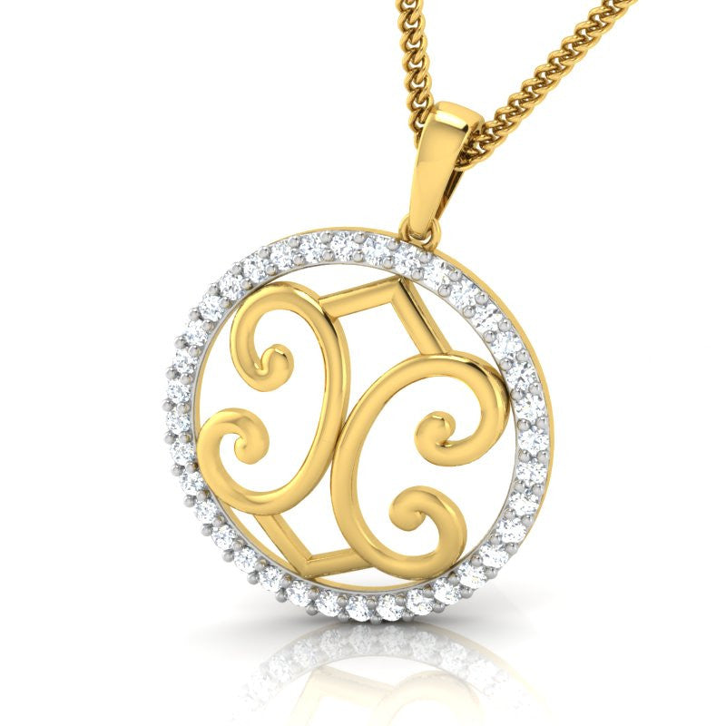 diamond studded gold jewellery - Gina Fashion Pendant - Pristine Fire - 1