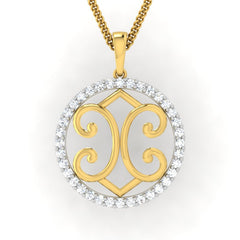diamond studded gold jewellery - Gina Fashion Pendant - Pristine Fire - 2