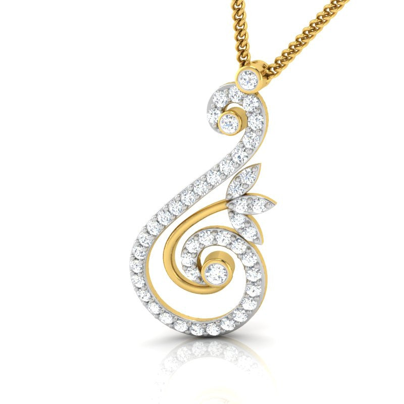 diamond studded gold jewellery - Hiba Casual Pendant - Pristine Fire - 1