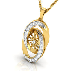 diamond studded gold jewellery - Abequa Fashion Pendant - Pristine Fire - 1