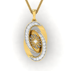 diamond studded gold jewellery - Abequa Fashion Pendant - Pristine Fire - 2
