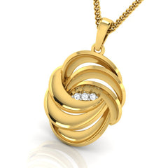 diamond studded gold jewellery - Adena Fashion Pendant - Pristine Fire - 1