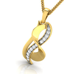 diamond studded gold jewellery - Adra Fashion Pendant - Pristine Fire - 1