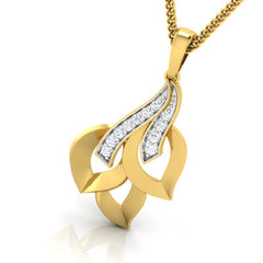 diamond studded gold jewellery - Trudy Fashion Pendant - Pristine Fire - 1