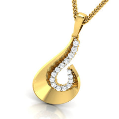 diamond studded gold jewellery - Tula Fashion Pendant - Pristine Fire - 1