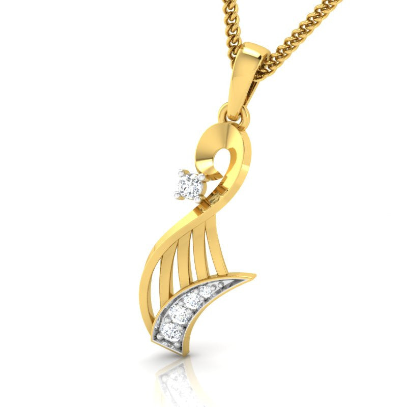 diamond studded gold jewellery - Wileen Fashion Pendant - Pristine Fire - 1