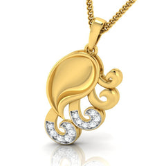 diamond studded gold jewellery - Yadra Fashion Pendant - Pristine Fire - 1