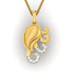 diamond studded gold jewellery - Yadra Fashion Pendant - Pristine Fire - 2