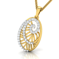 diamond studded gold jewellery - Yemena Fashion Pendant - Pristine Fire - 1