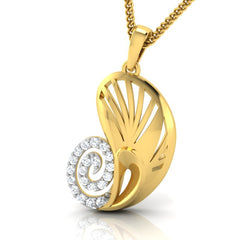 diamond studded gold jewellery - Yevgenia Fashion Pendant - Pristine Fire - 1