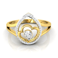 diamond studded gold jewellery - Kenenza Fashion Ring - Pristine Fire - 2