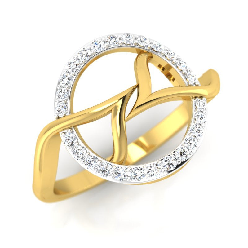 diamond studded gold jewellery - Catelynn Fashion Ring - Pristine Fire - 1