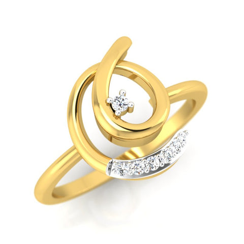 diamond studded gold jewellery - Eduvigis Casual Ring - Pristine Fire - 1