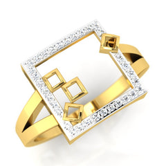 diamond studded gold jewellery - Mahala Fashion Ring - Pristine Fire - 1