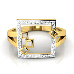 diamond studded gold jewellery - Mahala Fashion Ring - Pristine Fire - 2