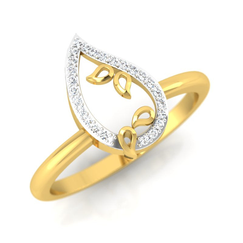 diamond studded gold jewellery - Ancelin Casual Ring - Pristine Fire - 1