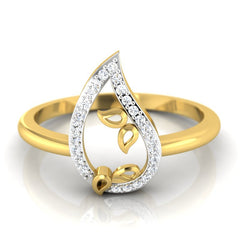 diamond studded gold jewellery - Ancelin Casual Ring - Pristine Fire - 2