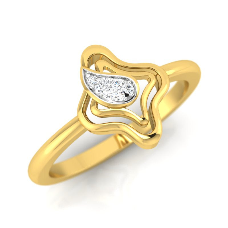 diamond studded gold jewellery - Karmel Fashion Ring - Pristine Fire - 1
