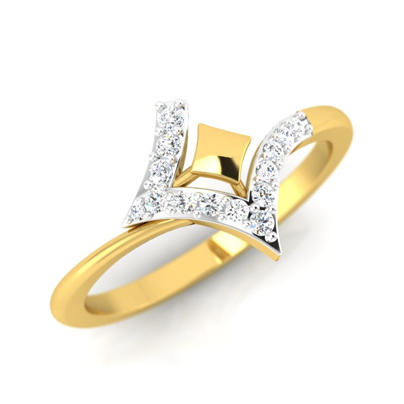 diamond studded gold jewellery - Karisa Fashion Ring - Pristine Fire - 1