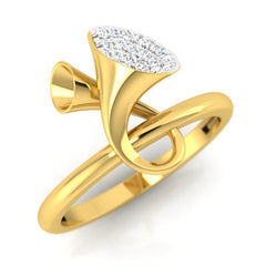 diamond studded gold jewellery - Earlene Fashion Ring - Pristine Fire - 1