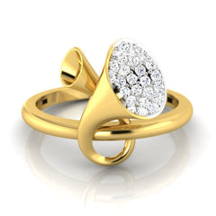 diamond studded gold jewellery - Earlene Fashion Ring - Pristine Fire - 2