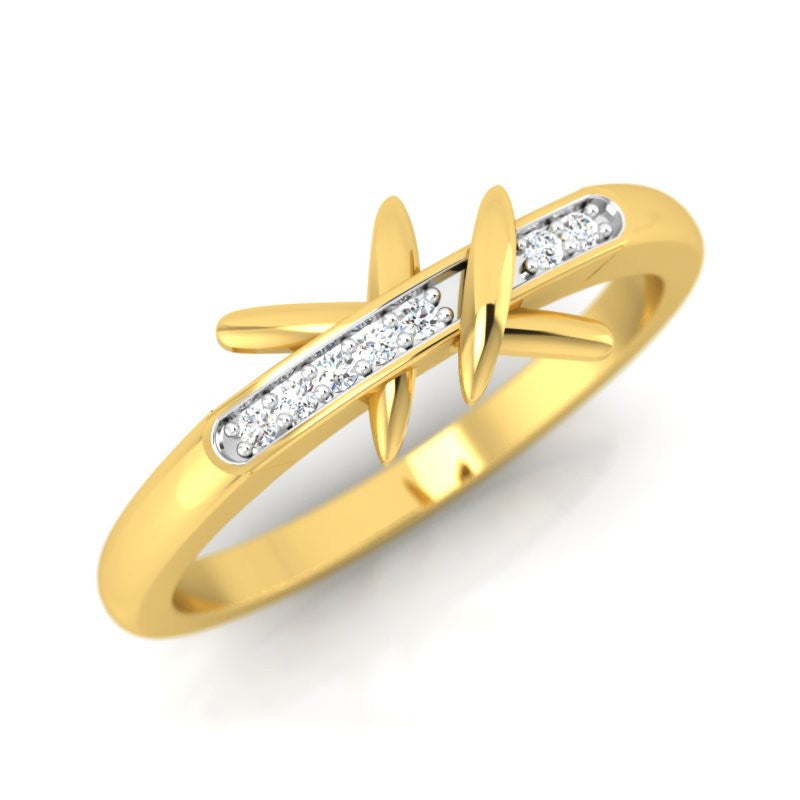 diamond studded gold jewellery - Djanira Casual Ring - Pristine Fire - 1