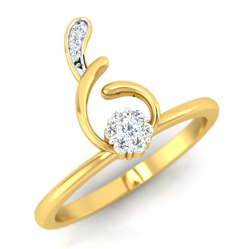 diamond studded gold jewellery - Aimee Casual Ring - Pristine Fire - 1
